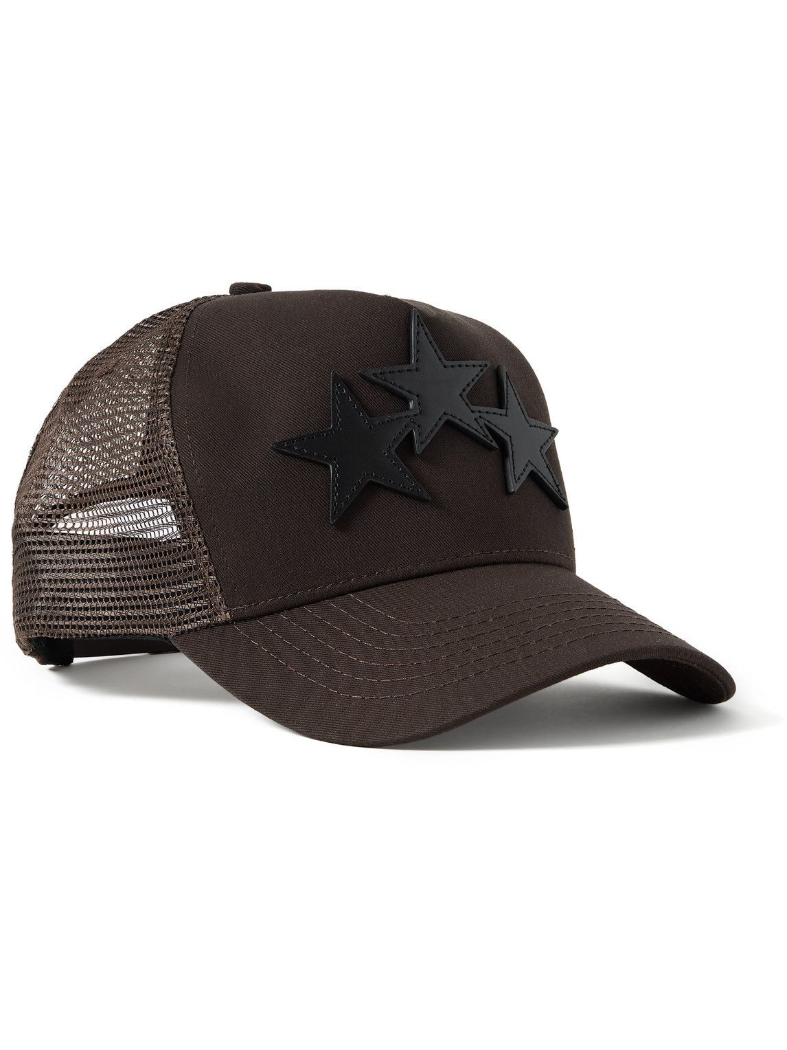 Photo: AMIRI - Leather-Trimmed Cotton-Twill and Mesh Trucker Hat