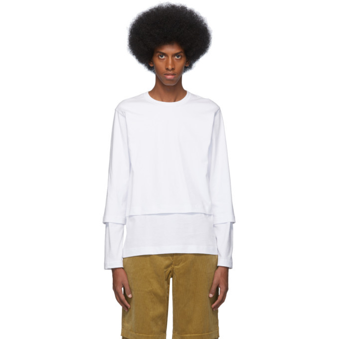 Photo: Comme des Garcons Shirt White Layered Long Sleeve T-Shirt