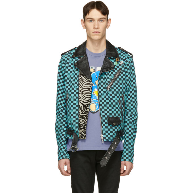Photo: Amiri Blue and Black Artist Checkered Biker Jacket