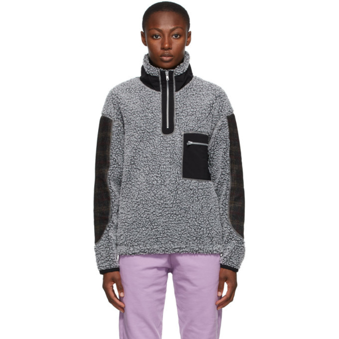 Photo: Rassvet Grey Colorblock Fleece Zip-Up Sweater
