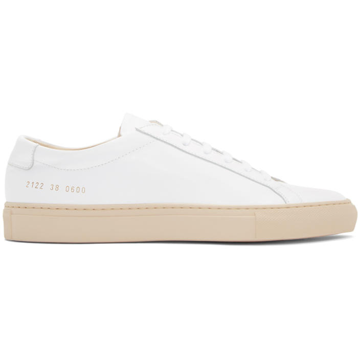Common Projects White and Pink Achilles Low Sneakers