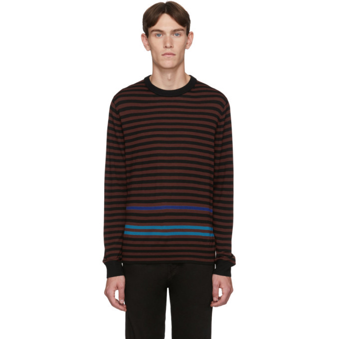 Photo: PS by Paul Smith Black and Burgundy Merino Stripe Sweater