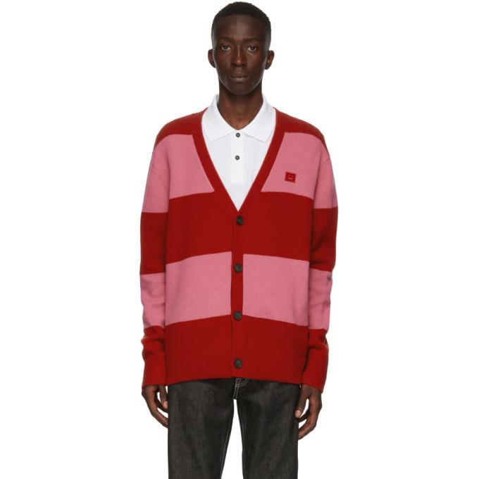 Acne Studios Red and Pink Block Stripe Cardigan