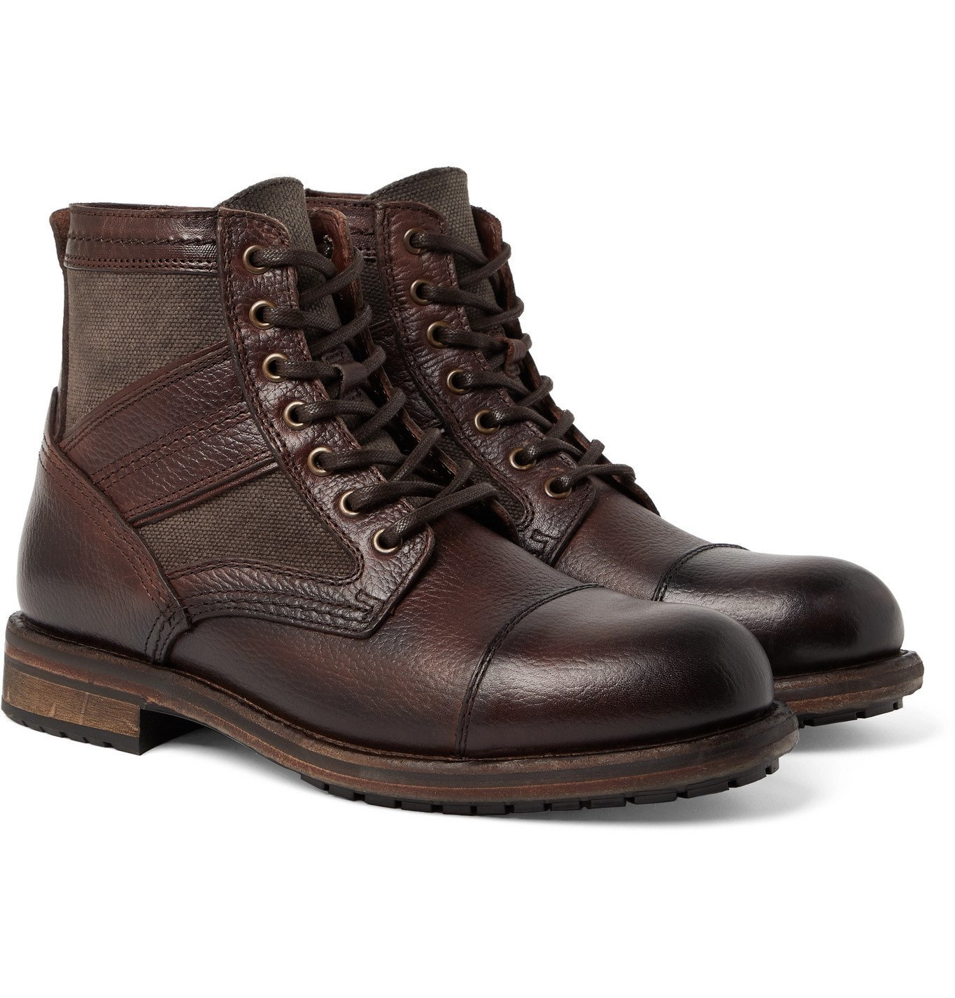 Photo: Belstaff - Trent Canvas and Full-Grain Leather Boots - Brown