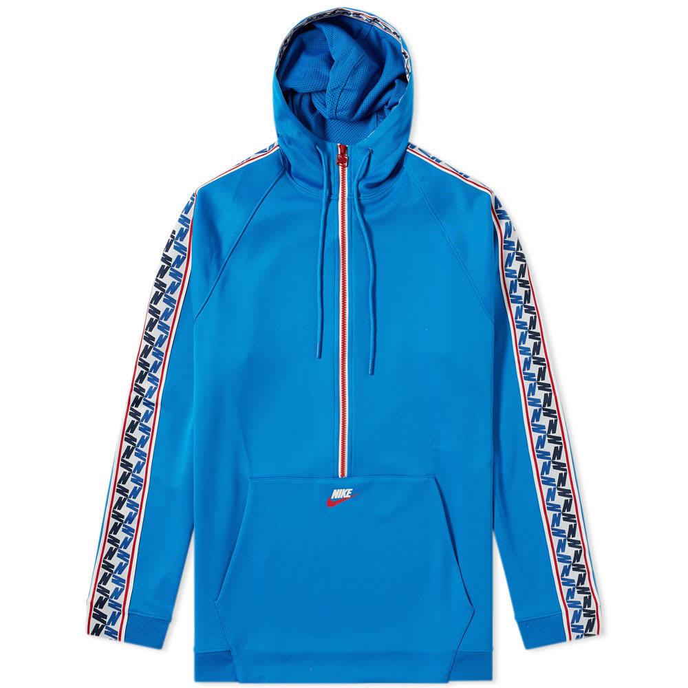 Hooded Blue Taped Nike Sweat Half Poly Zip q8wYI6