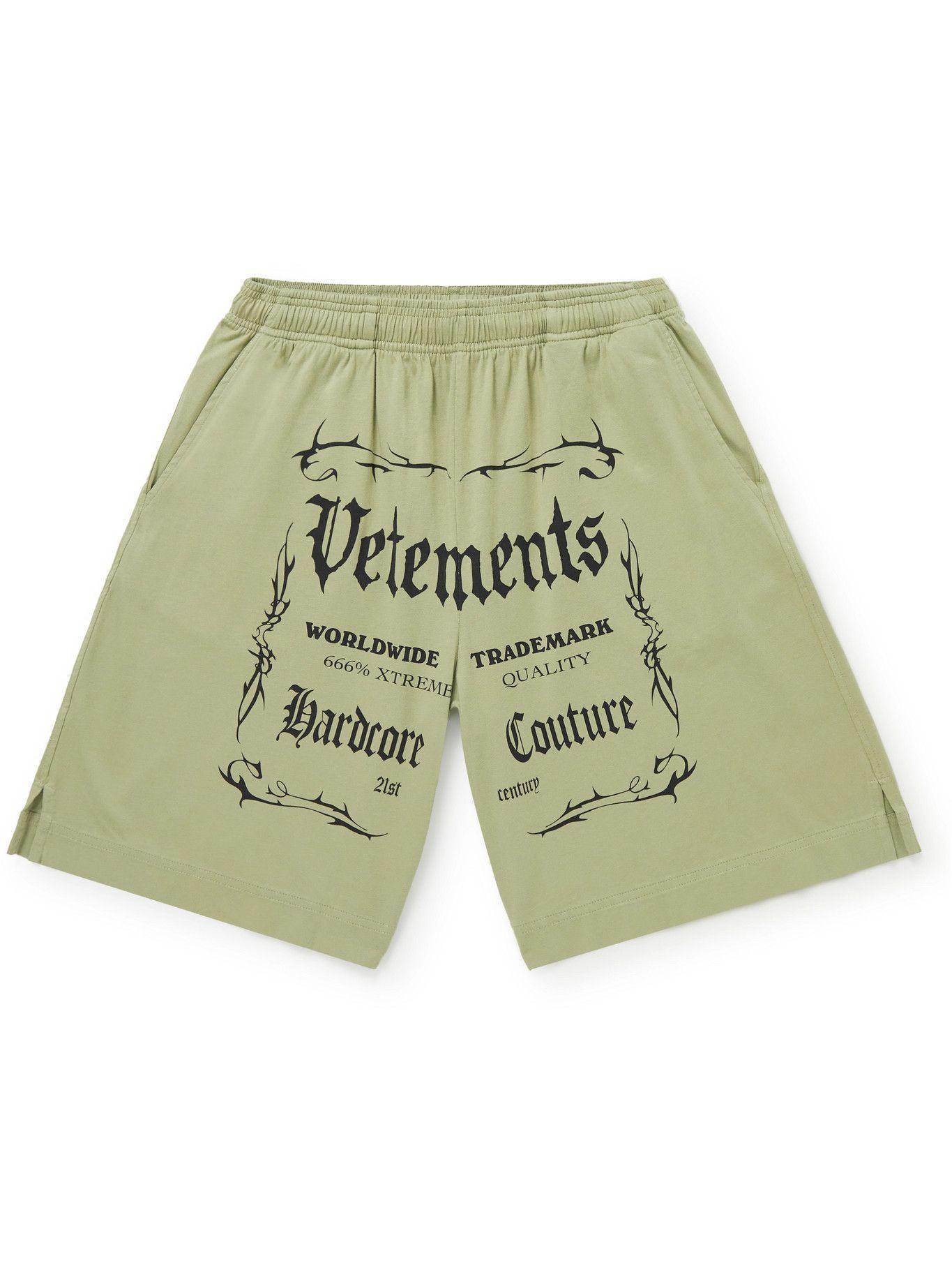 Photo: Vetements - Wide-Leg Logo-Print Cotton-Jersey Drawstring Shorts - Gray