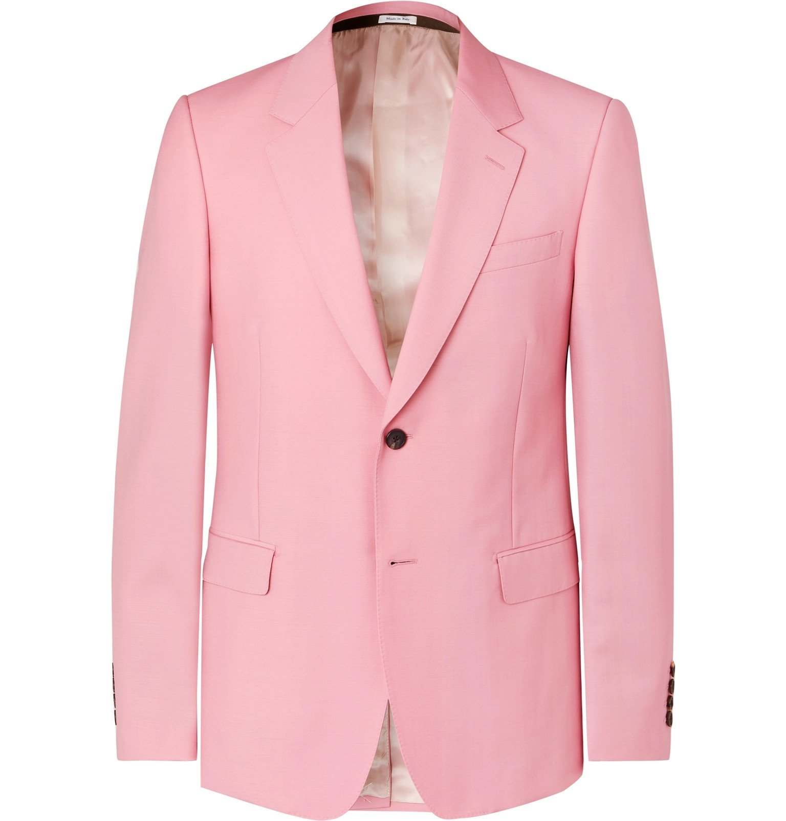 Photo: Alexander McQueen - Pink Slim-Fit Wool and Mohair-Blend Suit Jacket - Pink