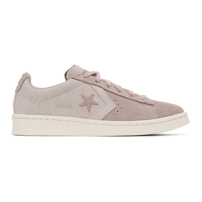 Photo: Converse Pink Suede Pro Leather OX Sneakers