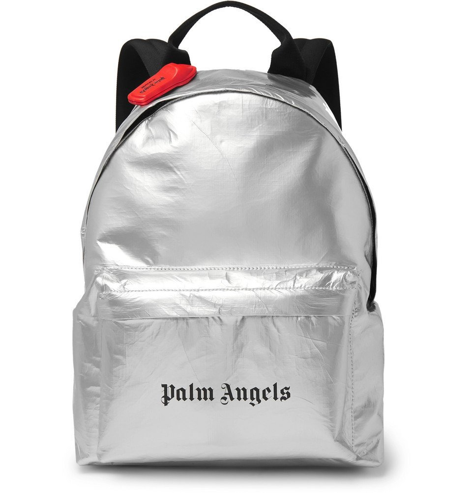 Photo: Palm Angels - Logo-Print Coated-Canvas Backpack - Silver