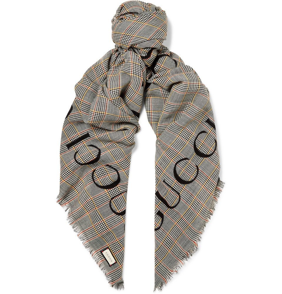 Photo: Gucci - Fringed Logo-Print Prince of Wales Checked Wool Scarf - Gray