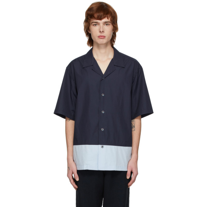 Photo: Barena Navy and Blue Poplin Shirt