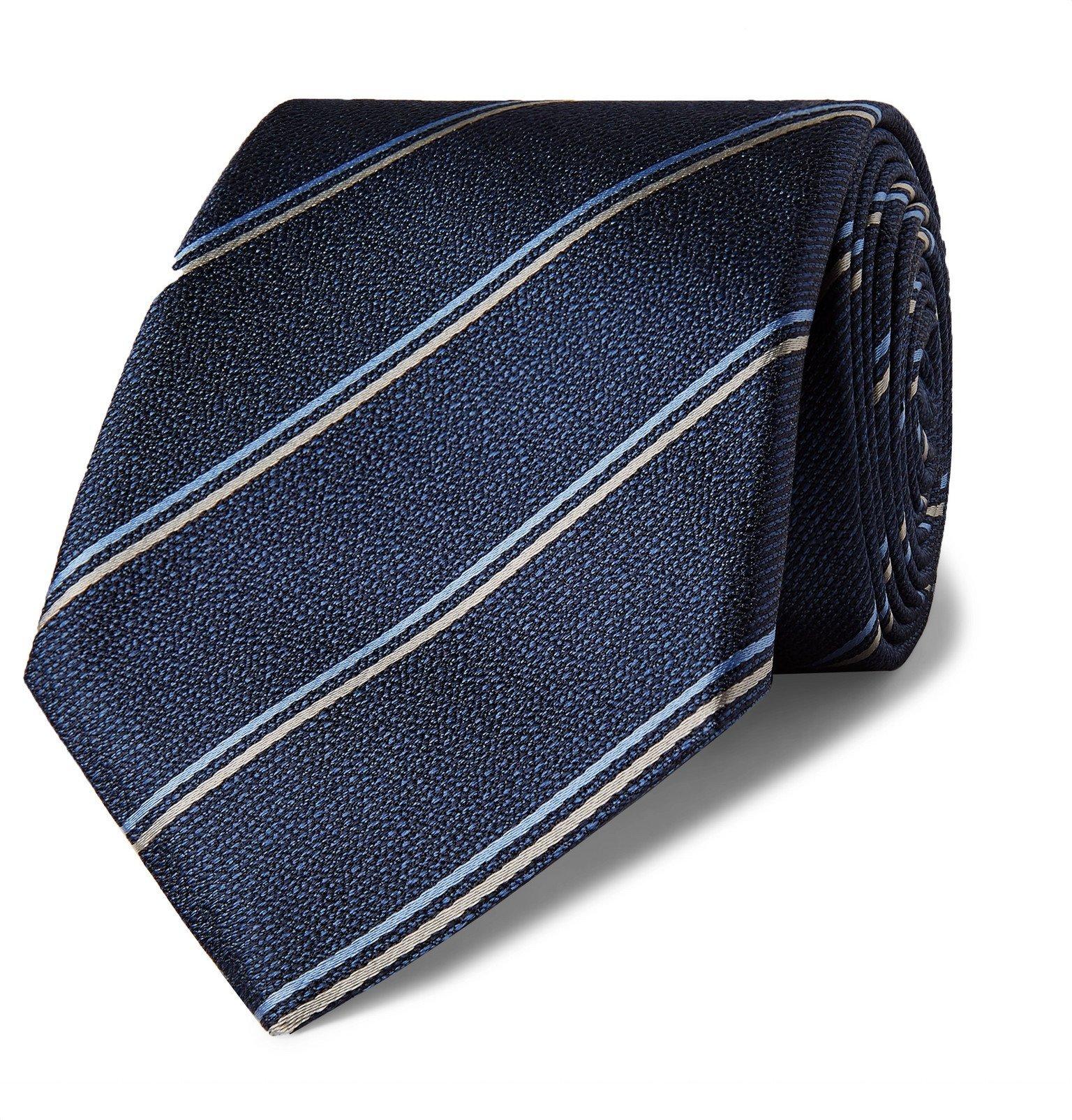 Photo: Canali - 8cm Striped Silk-Jacquard Tie - Blue