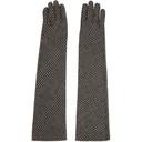 Sacai Beige Wool Glen Check Long Gloves