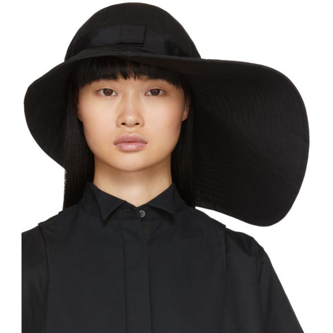 Sacai Black Wide Brim Beach Hat
