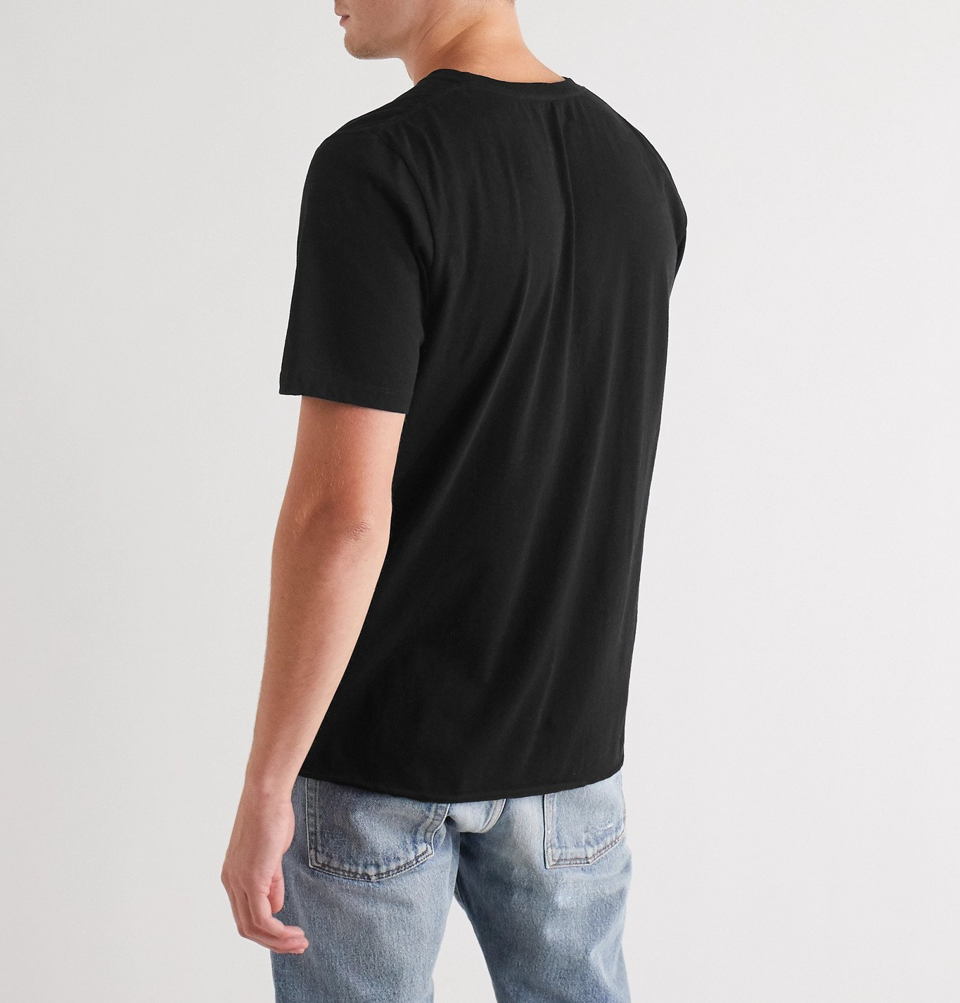 SAINT LAURENT - Printed Cotton-Jersey T-Shirt - Black