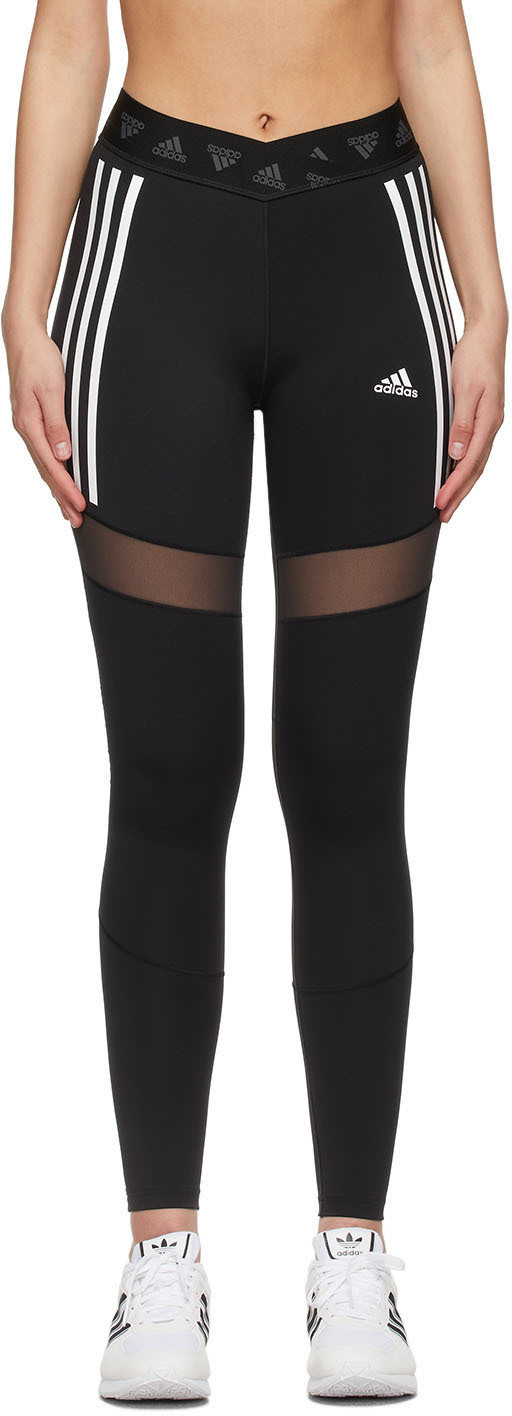Photo: adidas Originals Black Mesh Adicolor 3-Stripe Leggings