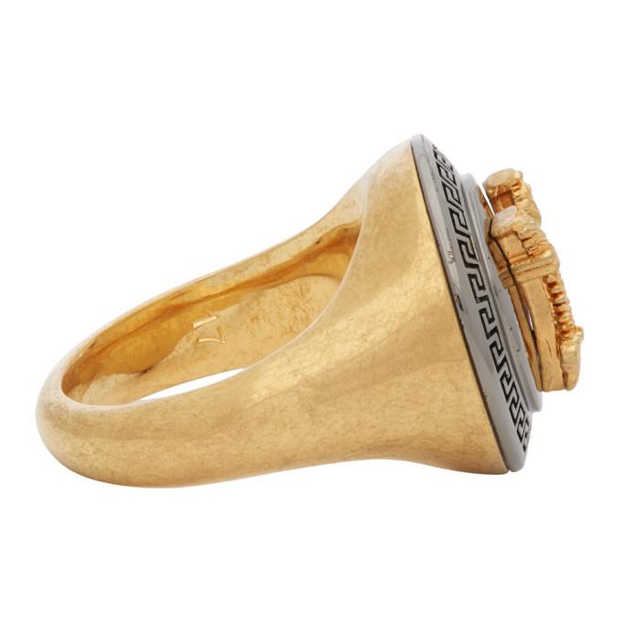 Versace Gold and Black Virtus Ring