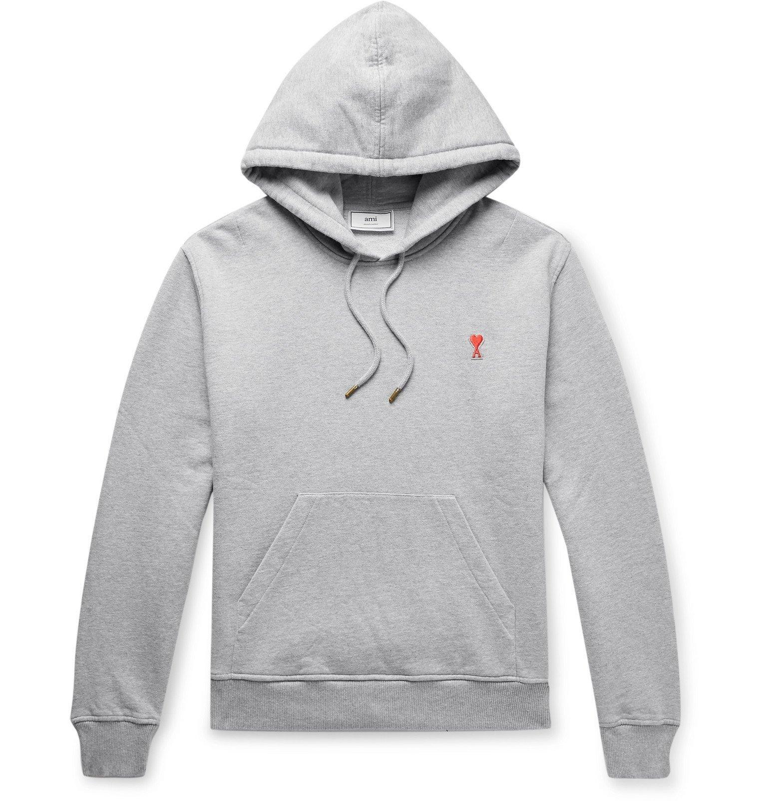 Photo: AMI - Slim-Fit Logo-Appliquéd Mélange Loopback Cotton-Jersey Hoodie - Gray