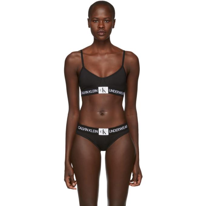 Calvin Klein Underwear Black Triangle Monogram Mesh Bra Calvin Klein ... 9bc3e1aa2
