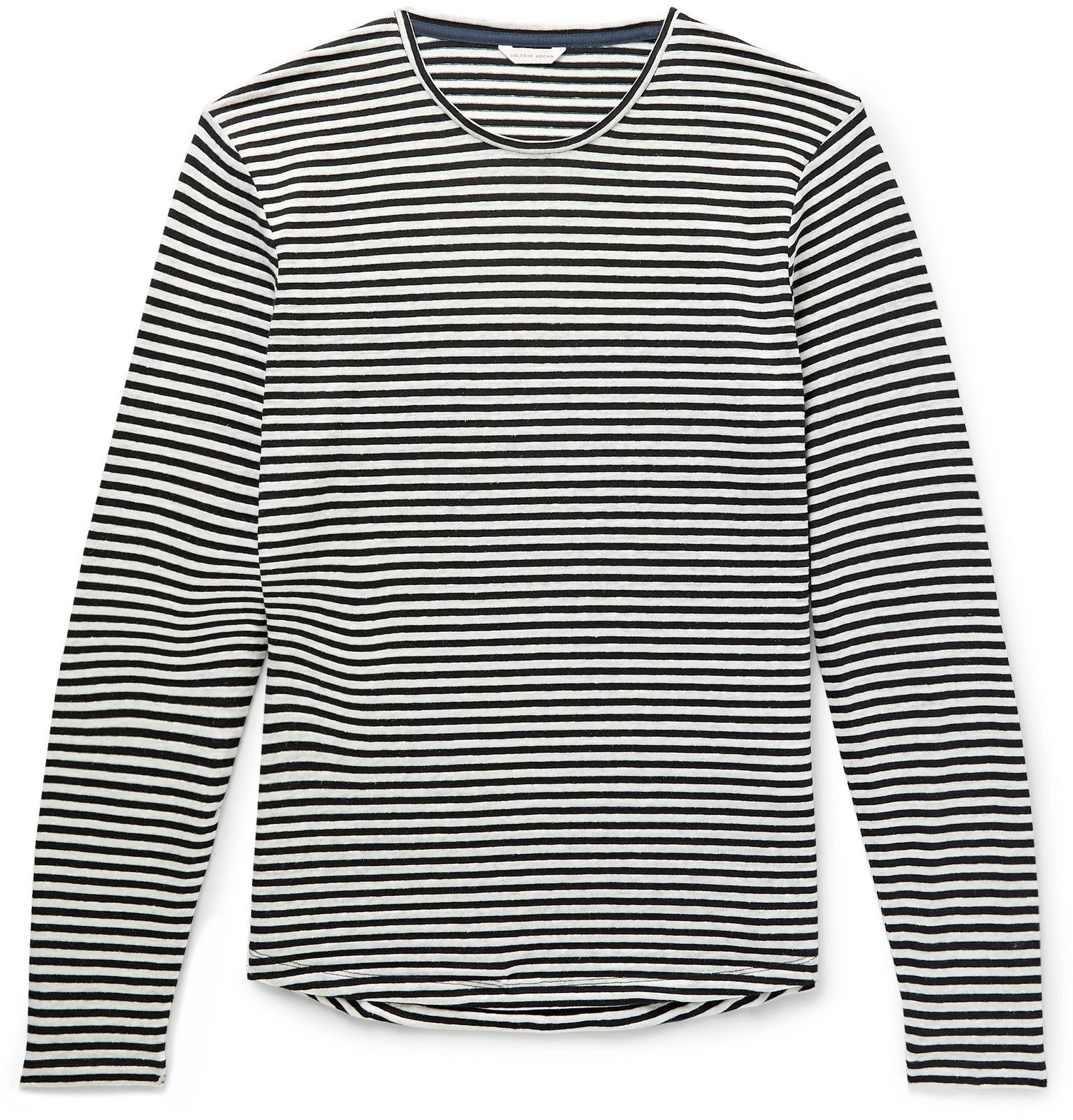 Photo: Orlebar Brown - Ob-T Striped Cotton and Linen-Blend T-Shirt - Blue