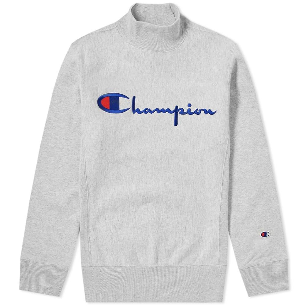 Photo: Champion Reverse Weave Mock Neck Script Logo Sweat