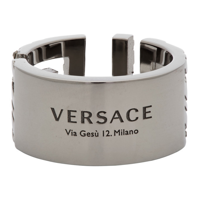 Versace Silver Address Plate Ring