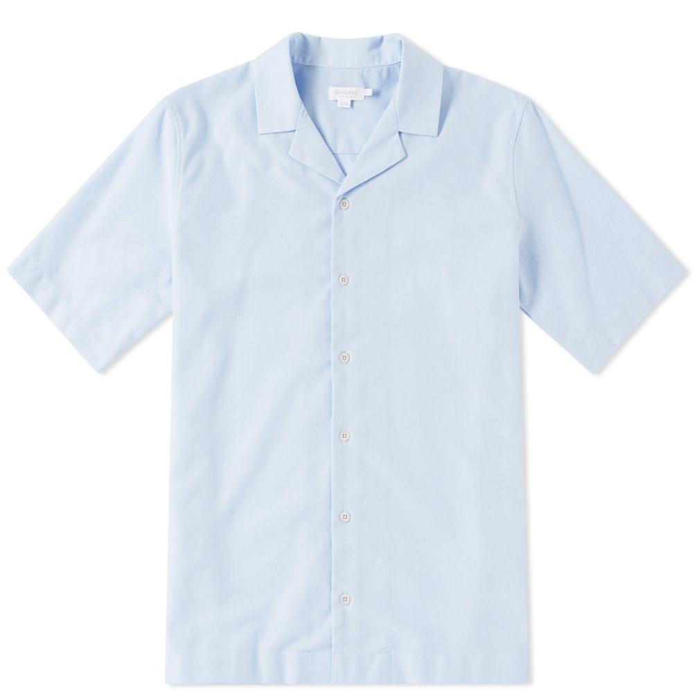 Photo: Sunspel Cotton Camp Collar Short Sleeve Shirt