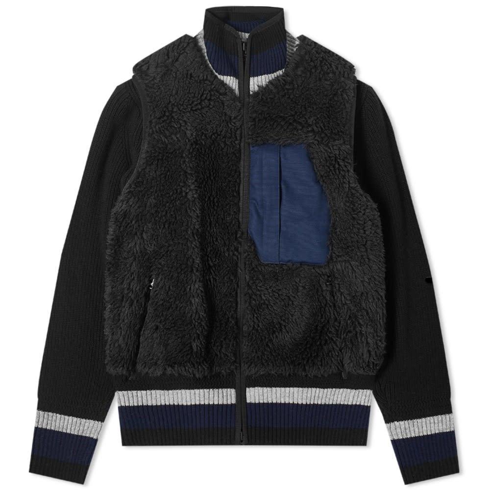 Sacai Faux Shearling Knit Jacket