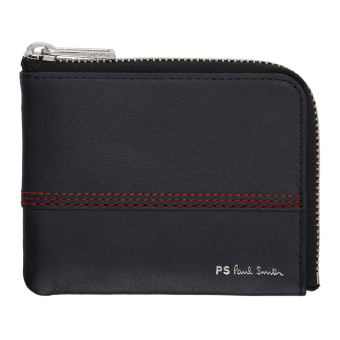 Photo: PS by Paul Smith Navy Red Stitching Wallet