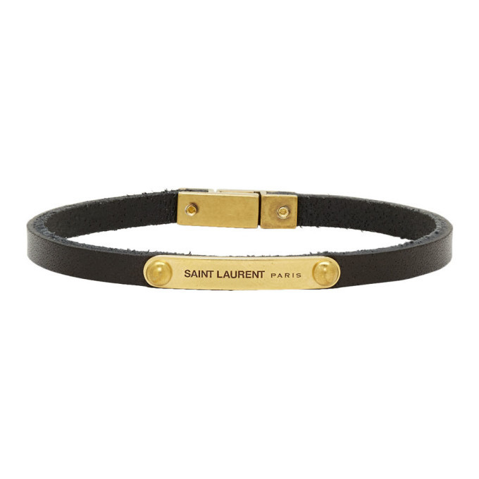 Photo: Saint Laurent Black and Gold Narrow ID Bracelet