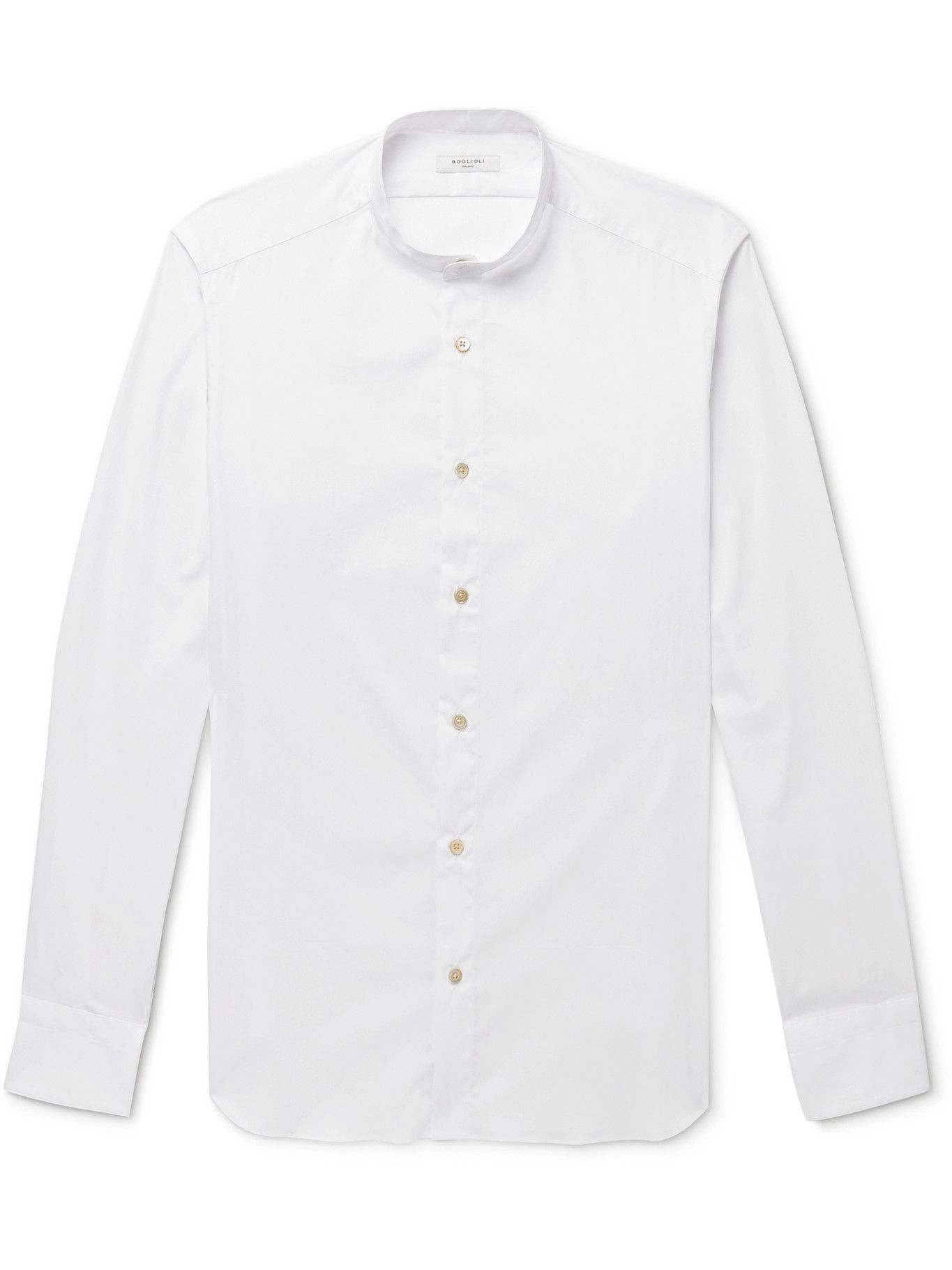 Photo: BOGLIOLI - Grandad-Collar Cotton-Poplin Shirt - White