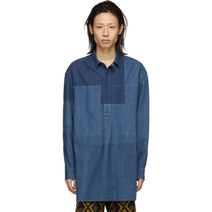 Photo: JW Anderson Blue Shaded Patchwork Shirt