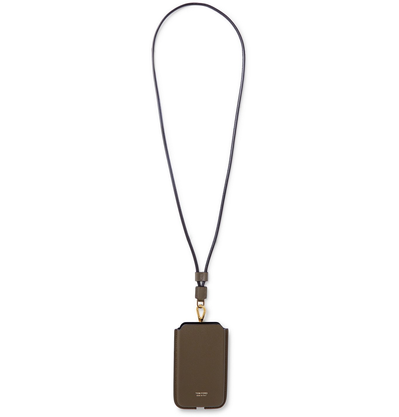 Photo: TOM FORD - Full-Grain Leather Phone Pouch with Lanyard - Green
