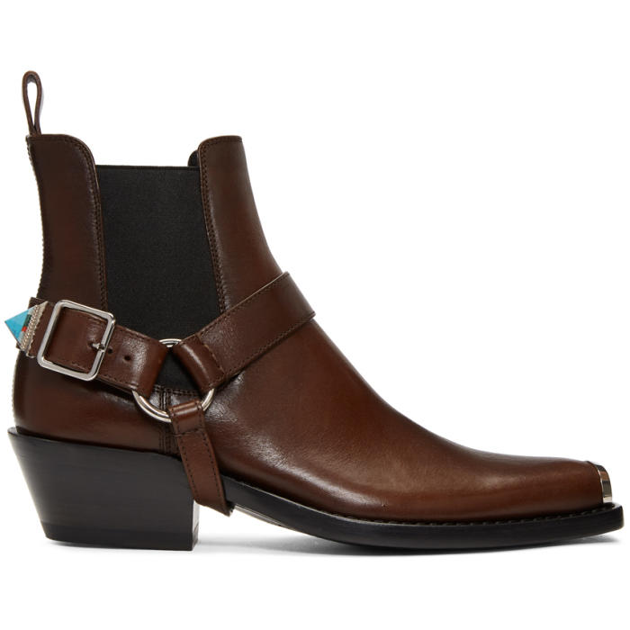 Photo: Calvin Klein 205W39NYC Brown Western Harness Boots