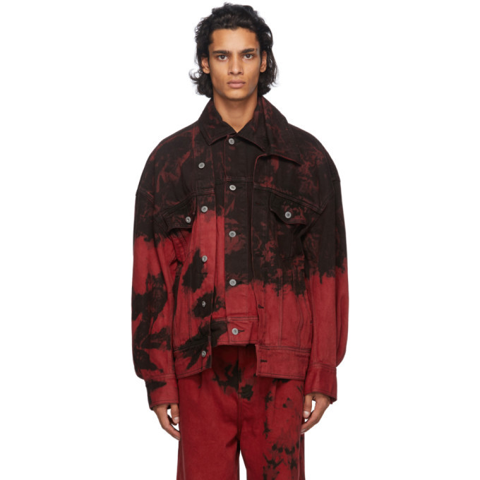 Photo: Feng Chen Wang Red and Black Tie-Dye Denim Jacket