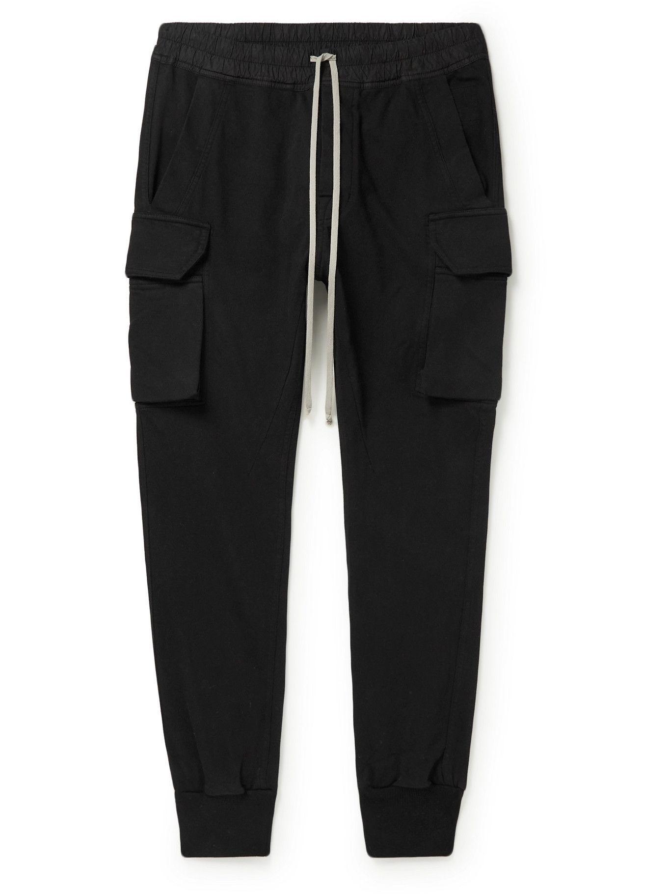 Photo: Rick Owens - Mastodon Slim-Fit Tapered Cotton-Jersey Sweatpants - Black