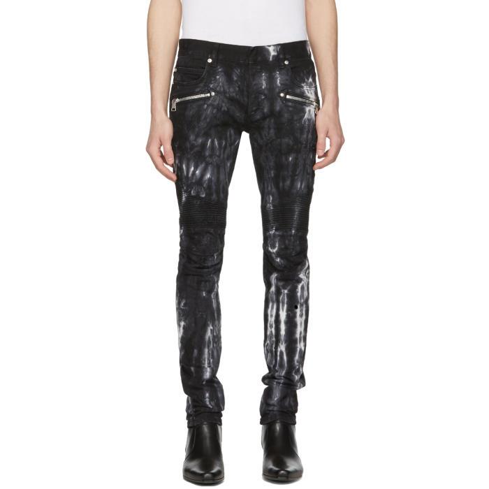 Photo: Balmain Black Tie-Dye Biker Jeans