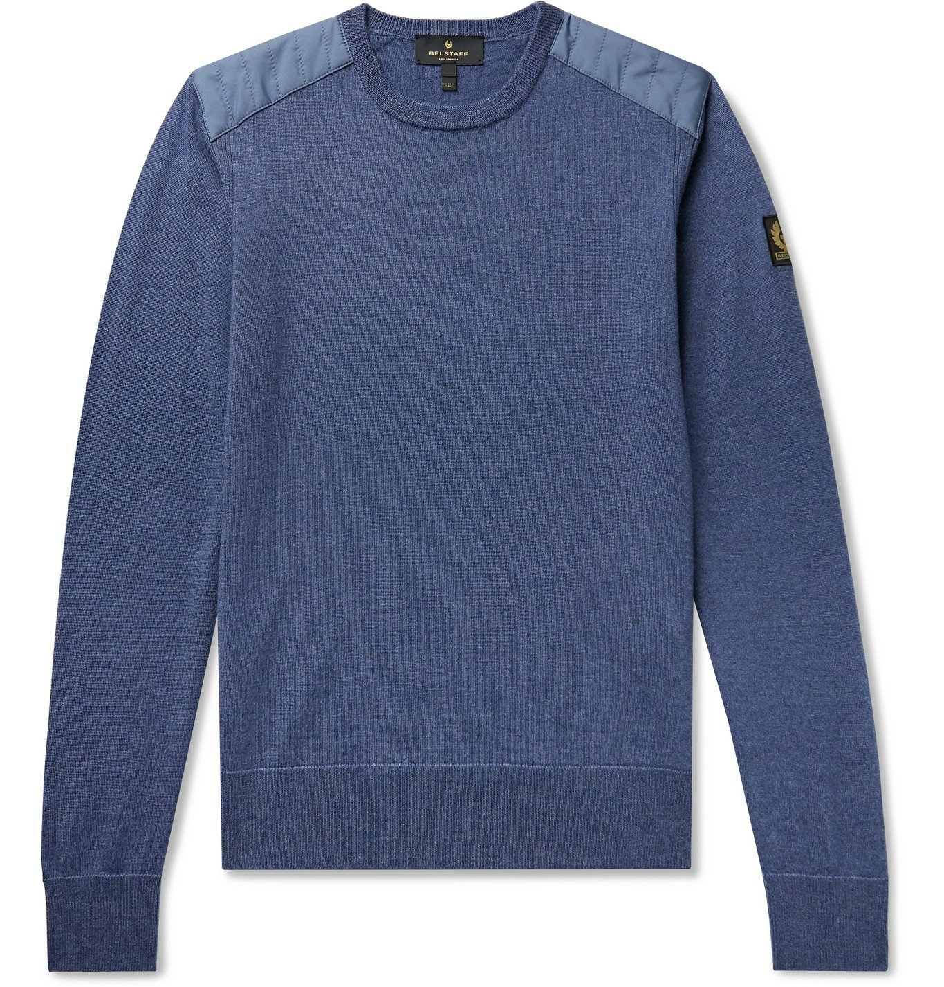 Photo: BELSTAFF - Kerrigan Slim-Fit Quilted Shell-Trimmed Merino Wool Sweater - Blue