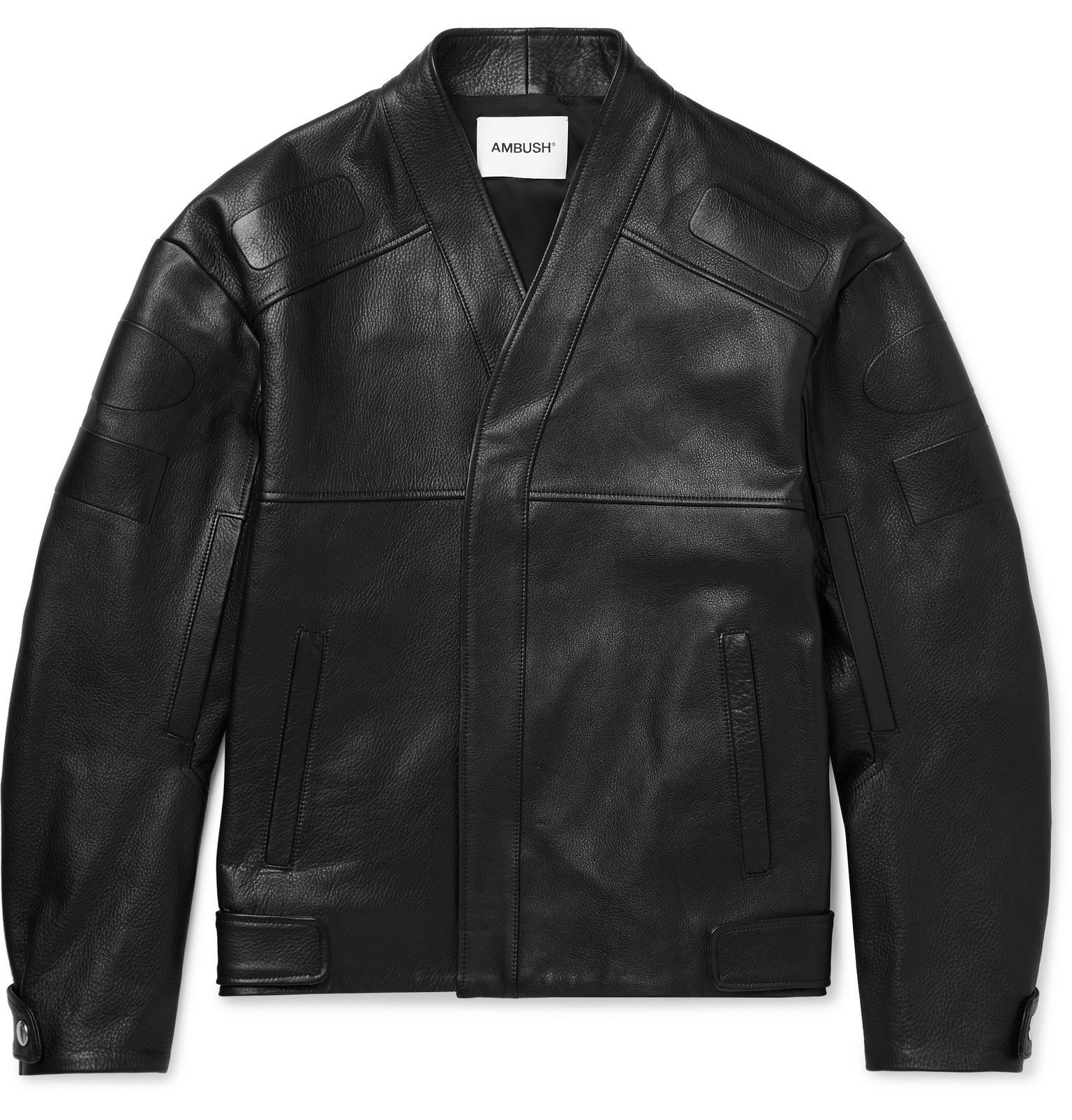 Photo: AMBUSH® - Logo-Embossed Full-Grain Leather Jacket - Black