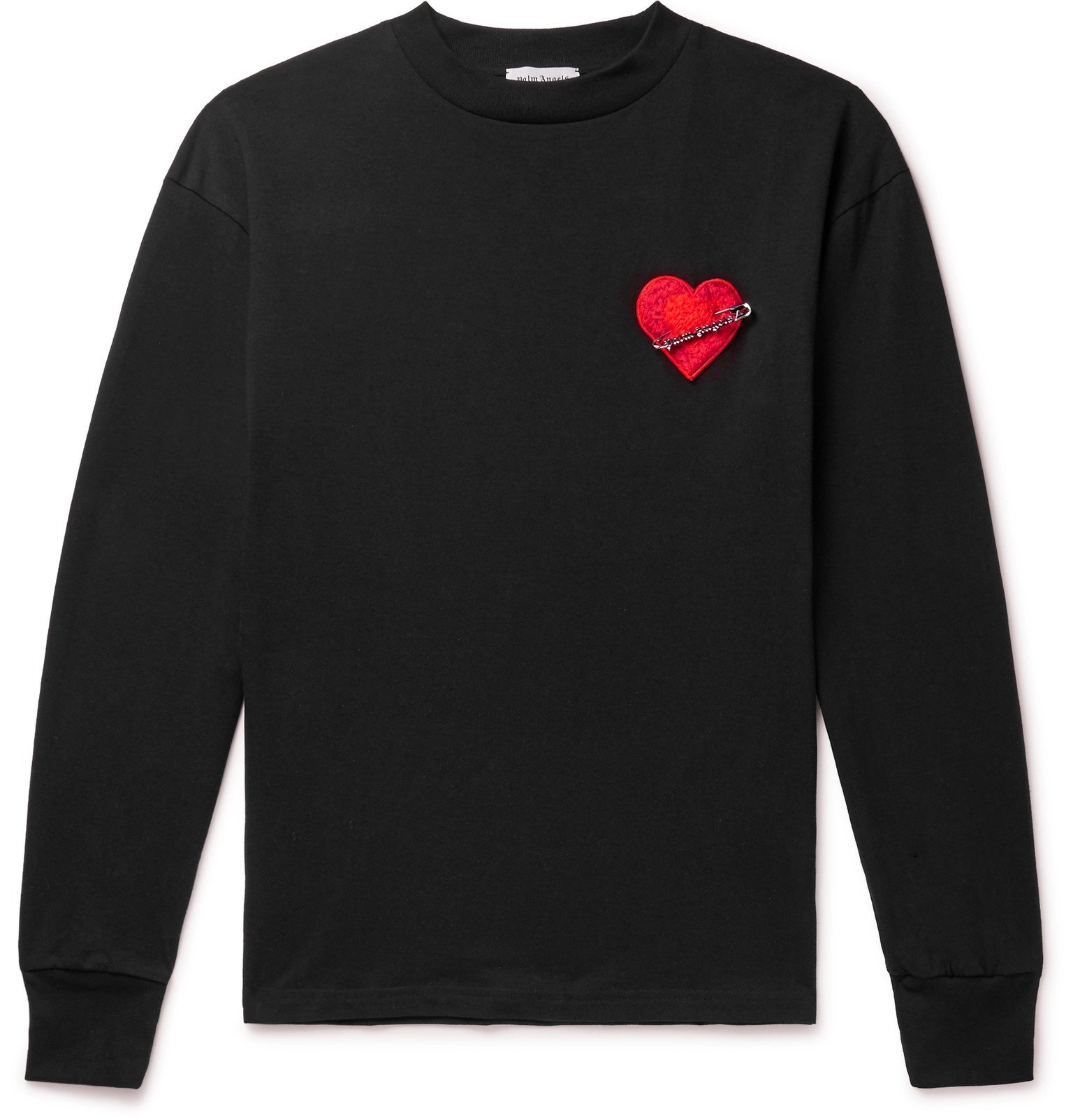Photo: Palm Angels - Pin My Heart Appliquéd Loopback Cotton-Jersey T-Shirt - Black