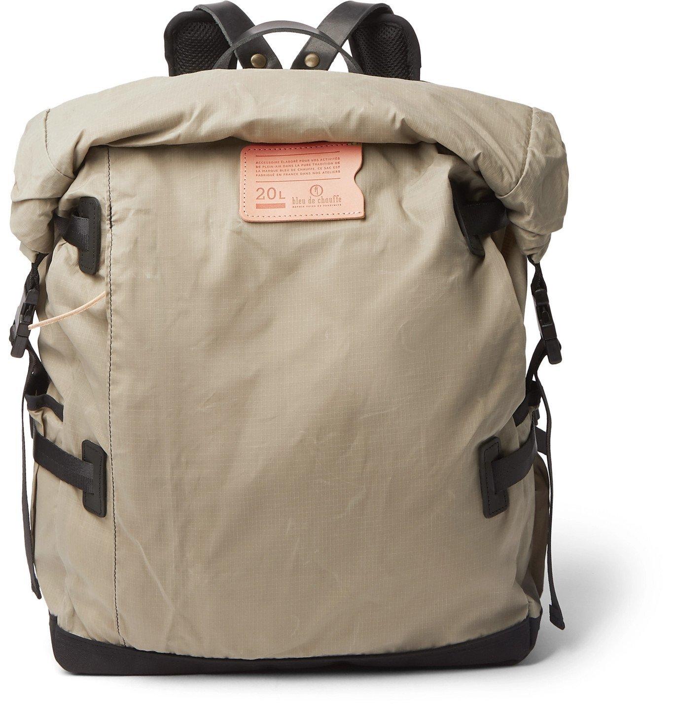 Photo: Bleu de Chauffe - Basile Leather-Trimmed Waxed Cotton-Ripstop Backpack - Neutrals