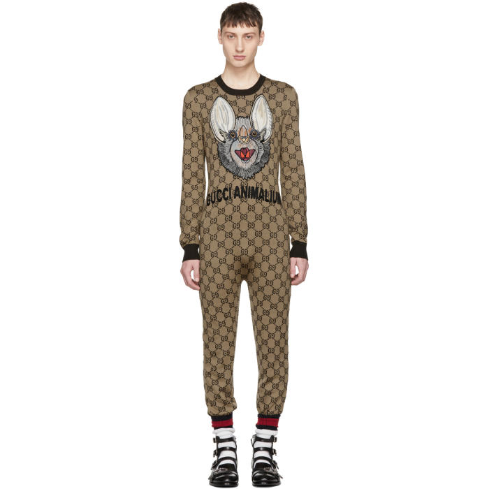 Photo: Gucci Brown Wool GG Supreme Jumpsuit