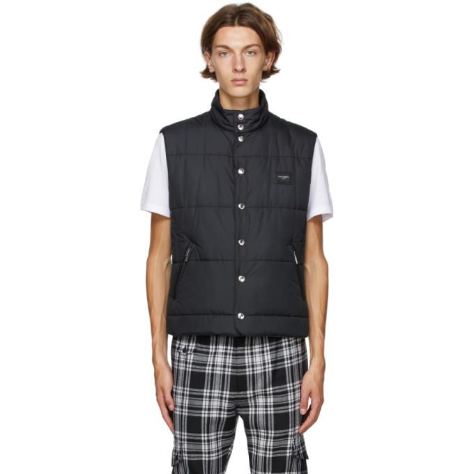 Photo: Dolce and Gabbana Black Nylon Logo Vest
