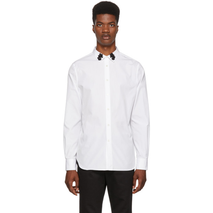 Photo: Alexander McQueen White Embellished Collar Shirt