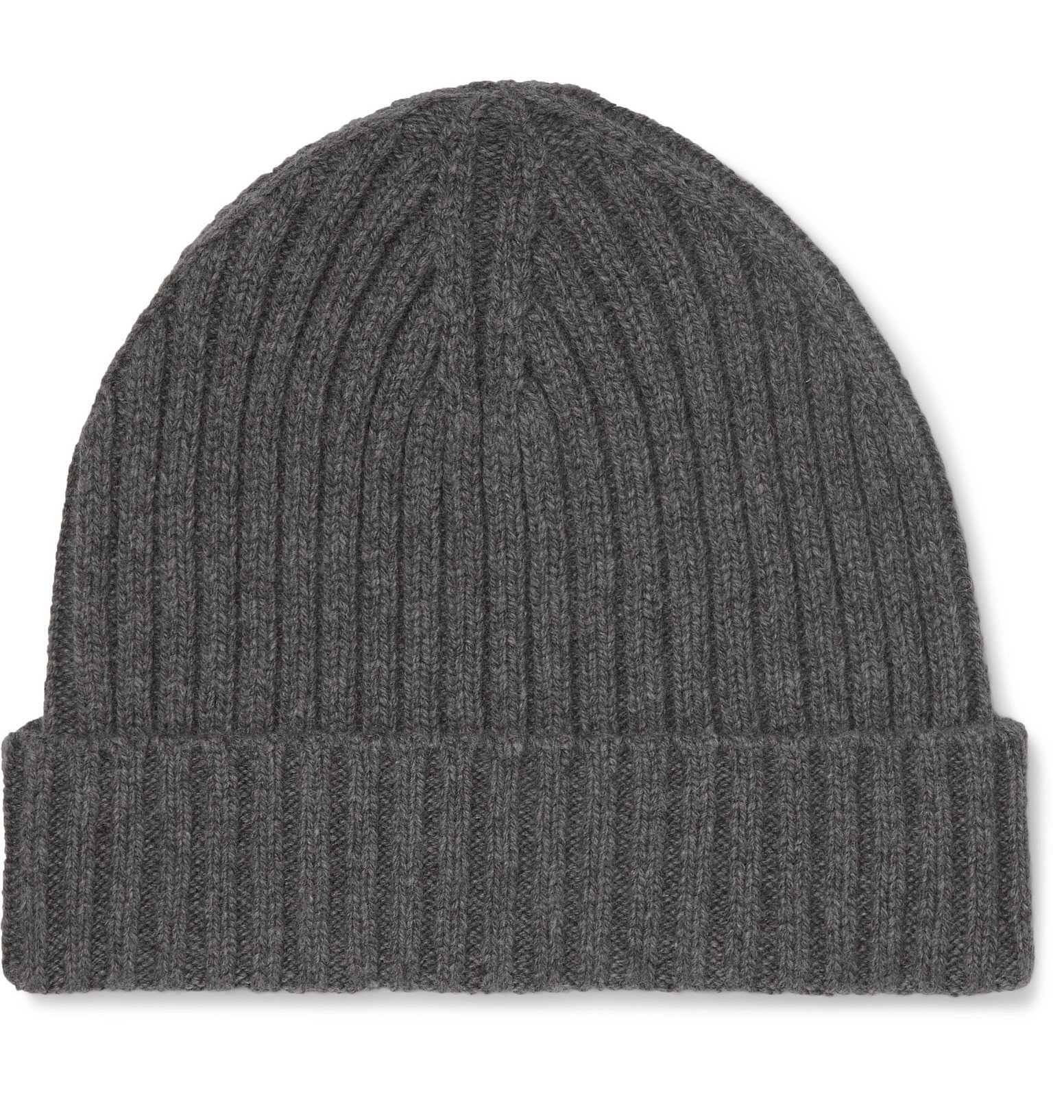 Photo: Officine Generale - Ribbed Cashmere and Merino Wool-Blend Beanie - Gray