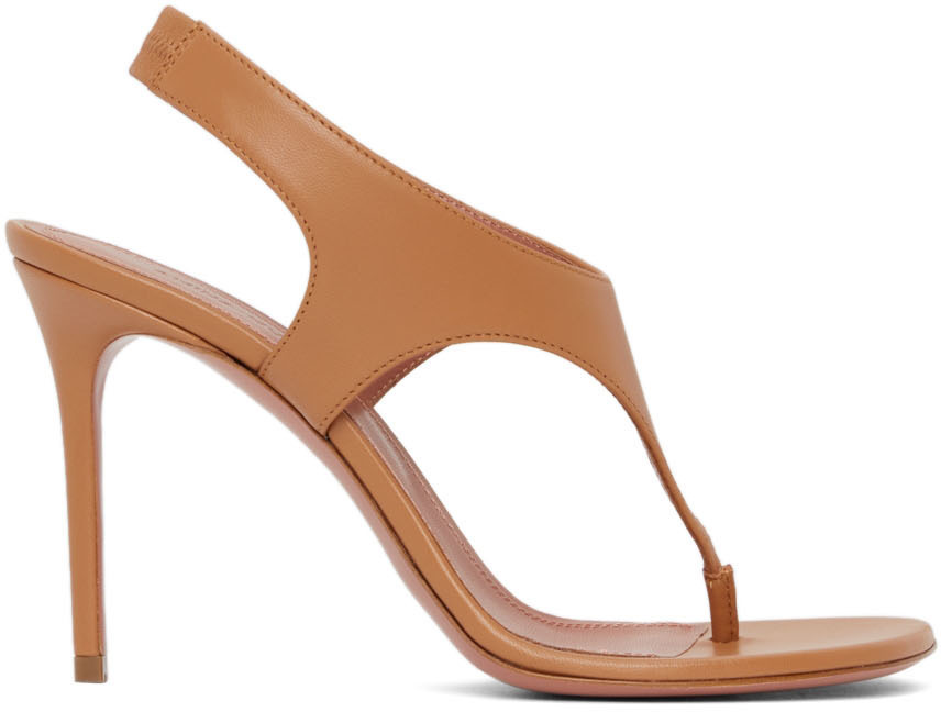 Photo: Amina Muaddi Brown Debora Heeled Sandals