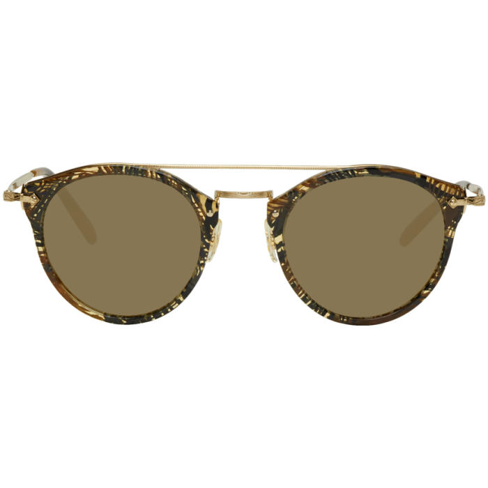 77d7f84c01 Photo  Oliver Peoples pour Alain Mikli Gold and Brown Remick Sunglasses