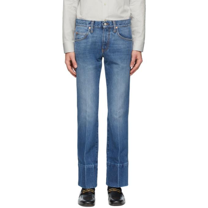Photo: Gucci Blue Denim High-Waisted Bootcut Jeans