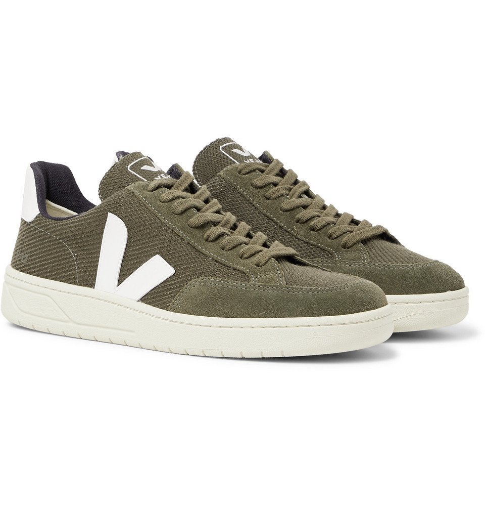 Photo: Veja - V-12 Leather and Rubber-Trimmed Suede and B-Mesh Sneakers - Army green