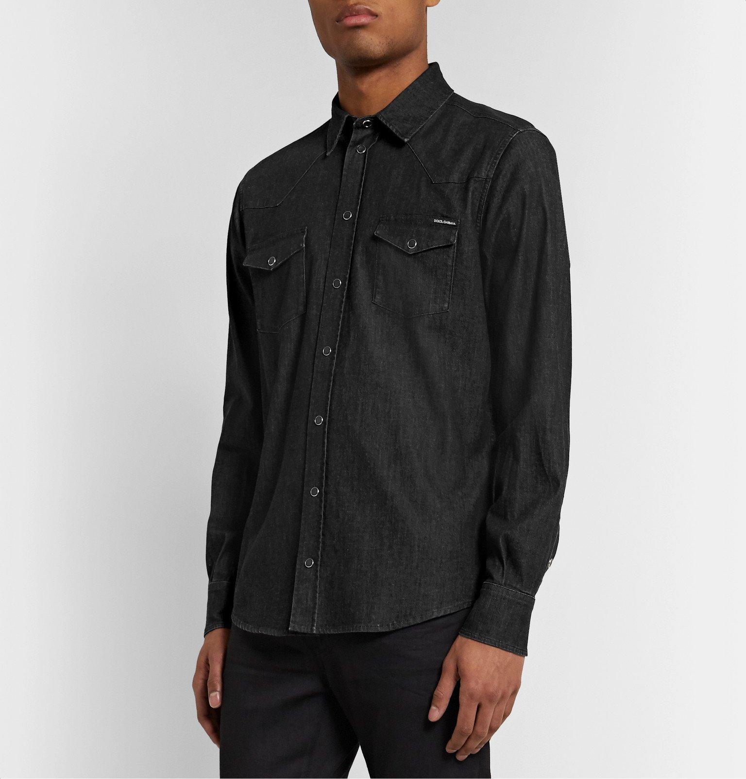Dolce & Gabbana - Slim-Fit Denim Western Shirt - Black